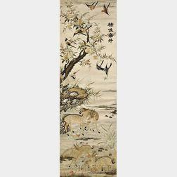 Embroidered Panel Depicting Deer