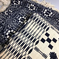 Two Blue and White Wool Coverlets.     Estimate $20-200