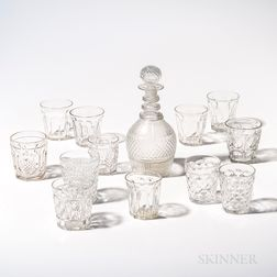 Blown Molded Decanter with Stopper and an Assembled Set of Twelve Tumblers
