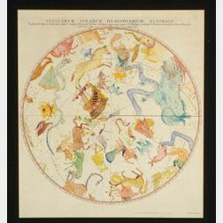 English Hand-Colored Celestial Map
