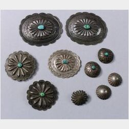 Ten Southwest Silver and Turquoise Jewelry Items
