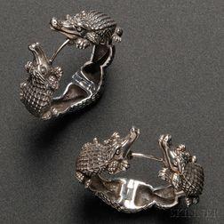 Pair of Barry Kieselstein-Cord Sterling Silver Alligator Hoop Earrings
