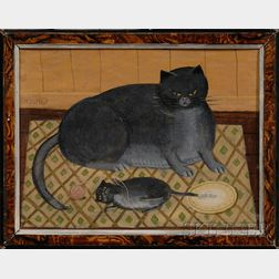 American School, 20th Century      Gray Cat and Kitten on a Patterned Rug.
