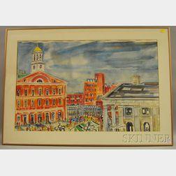 Paul D. Shea (American, 1925-2009)      Quincy Market, Boston.