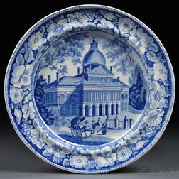 Two Historical Blue Transfer-decorated Staffordshire Pottery Dinner Plates