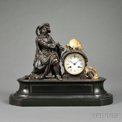 French Parcel-gilded Bronze Mantel Clock