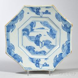 Tin-glazed Earthenware Octagonal Ming   Dish
