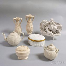 Seven Pieces of Parian and Salt-glazed Ceramics