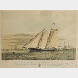 """Framed Ackermann Print The """"America,"""" Schooner Yacht"""