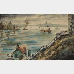 Reginald Marsh (American, 1898-1954)      New York Harbor
