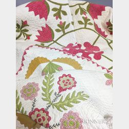 Appliqued Cotton Floral Quilt and Crib Quilt