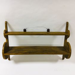 Mustard-painted Pine Shaped-end Two-tier Hanging Shelf