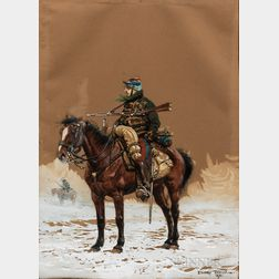 Edouard Jean Baptiste Detaille (French, 1848-1912)      Mounted Cavalry Soldier in Snow