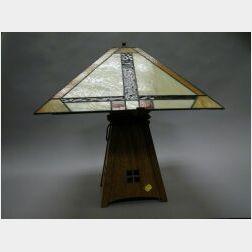 Tillman Prairie School Style Oak and Slag Glass Table Lamp.