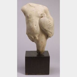 Greek or Roman Marble Fragmentary Statue of a Young Boy Holding a Dove