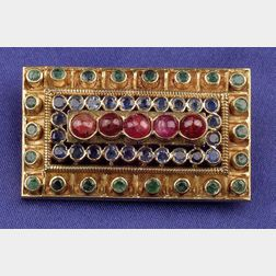 22kt Gold, Ruby, Sapphire, Emerald and Diamond Brooch