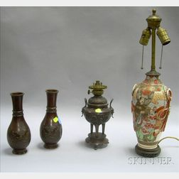 Asian Bronze Incense Burner Table Lamp, a Pair of Bronze Vases, and a Satsuma Table Lamp.