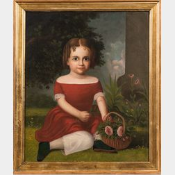 American School, 19th Century      Portrait of a Girl Holding a Basket of Roses