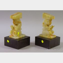 """Pair of 20th Century Mexican Carved Onyx """"God of Corn"""" Bookends"""