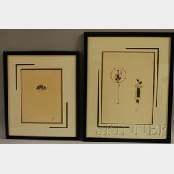 Romain (Erte) De Tirtoff  (French, 1892-1990)      Lot of Two Works: Feathers