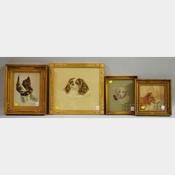 Four Framed Embroidered Portraits of Dogs