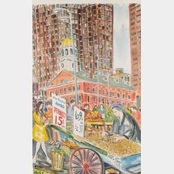 Paul D. Shea (American, 1925-2009)      Peanut Seller at Faneuil Hall, Boston