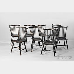 Set of Eight Black-painted Windsor Fan-back Side Chairs
