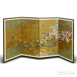 Japanese Painted Four-panel Screen