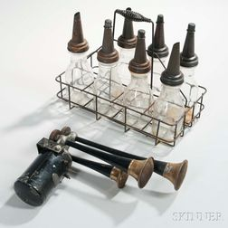 Vintage Auto Sparton Bugle and Seven Glass Oil Bottles with Rack