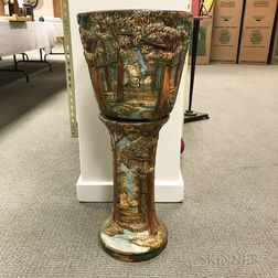 Weller Pottery Forest-decorated Jardiniere on Stand