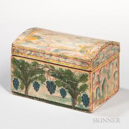 Paint-decorated Poplar and Pine Dome-top Box