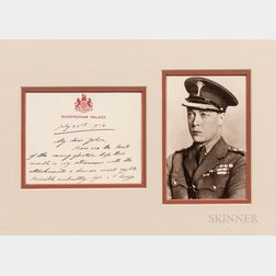 Edward VIII, King of England, Autograph Note Signed