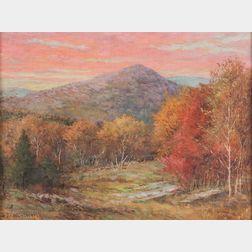 Daniel F. Wentworth (American, 1850-1934)      October Evening, Mt. Tom, Litchfield County