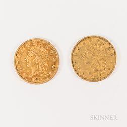 Two 1836 $2.50 Classic Head Gold Quarter Eagles