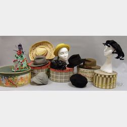 Ten Assorted Vintage Hats and Hat Boxes