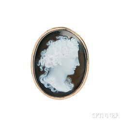 Antique 14kt Gold and Onyx Cameo Ring
