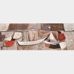 Kwong Yeu Ting [Kuang Yaoding] (Chinese, 1922-2011)      Boats on a Beach