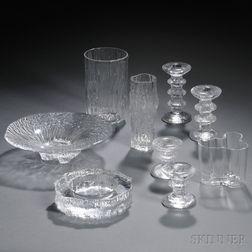 Nine Iittala Molded Glass Tableware Items