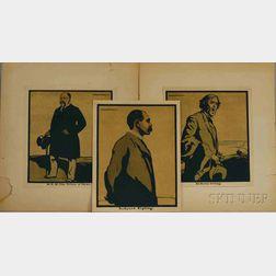 Sir William Nicholson (British, 1872-1949)      Three Portraits: Rudyard Kipling, Sir Henry Irving