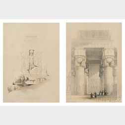 David Roberts (Scottish, 1796-1864), Louis Haghe, lithographer (British, 1806-1885) Two Egyptian Archeological Views: Entrance to The G