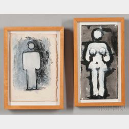 Aaron Fink (American, b. 1955)    Two Small Paintings: Black and White Figures