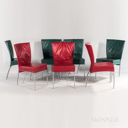 Seven Leather Dining Chairs