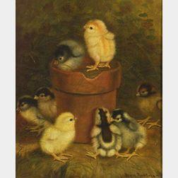 Ben Austrian (American, 1870-1921)    Genre Scene with Chicks