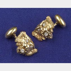 Art Nouveau 14kt Gold and Diamond Cuff Links