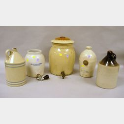 Five Pieces of Assorted Domestic Stoneware