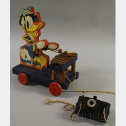 Fisher Price 1938 Donald Duck Wooden Musical Pull-toy