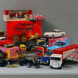 Lot of Assorted Small Collectible and Toy Cars, Vehicles, Painted Cast Iron Toys,   Parts, Composition Buildings, and Other Toys