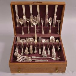 """Whiting Mfg. Co. """"Pompadour"""" Sterling Silver Partial Flatware Service"""