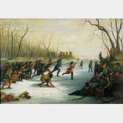 Attributed to Seth Eastman (American, 1808-1875)      Ball Play of the Sioux on the St. Peters River in Winter