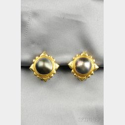 18kt Gold and Mabe Pearl Earclips, Elizabeth Locke